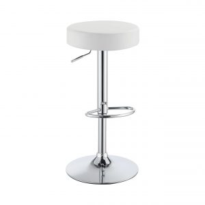29″ Adjustable Bar Stool Chrome And White