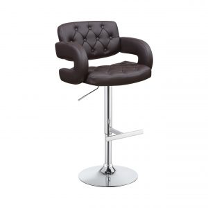 29″ Adjustable Height Bar Stool Chrome And Brown