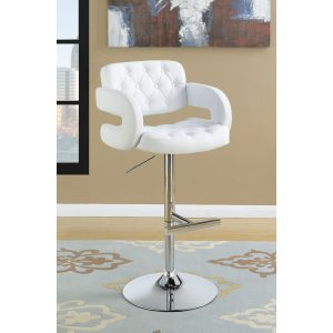 29″ Adjustable Height Bar Stool Chrome And White