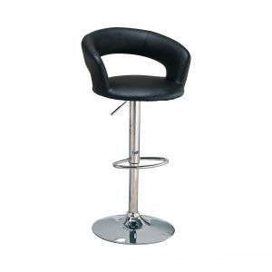 29″ Adjustable Height Bar Stool Black And Chrome