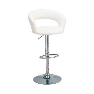 29″ Adjustable Height Bar Stool White And Chrome