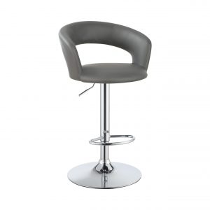 29″ Adjustable Height Bar Stool Grey And Chrome