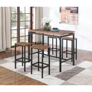 5-Piece Bar Set Weathered Chestnut And Black